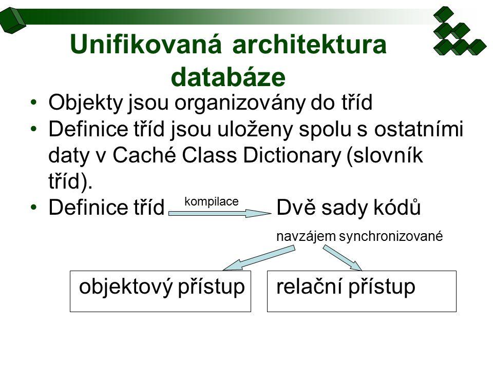 Unifikovaná architektura databáze Objekty jsou organizovány do tříd Definice tříd jsou uloženy spolu s ostatními daty v Caché Class Dictionary (slovník tříd).