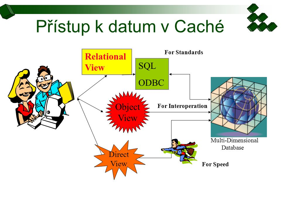 Přístup k datum v Caché SQL ODBC Relational View For Standards Direct View Object View For Speed For Interoperation Multi-Dimensional Database