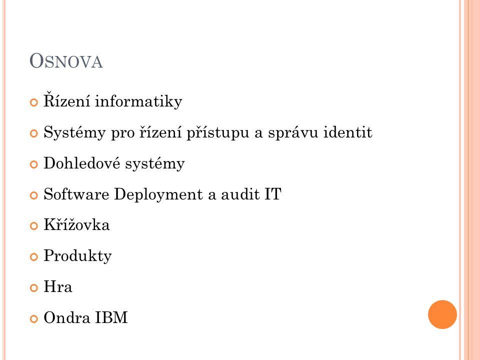 O SNOVA Řízení informatiky Systémy pro řízení přístupu a správu identit Dohledové systémy Software Deployment a audit IT Křížovka Produkty Hra Ondra IBM