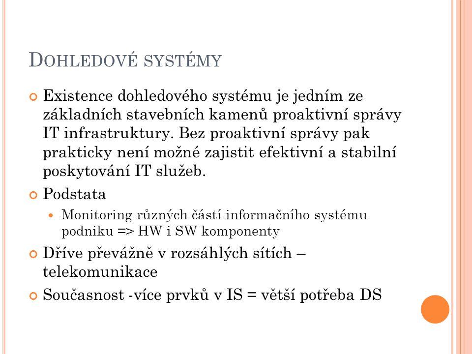 D OHLEDOVÉ SYSTÉMY Existence dohledového systému je jedním ze základních stavebních kamenů proaktivní správy IT infrastruktury.