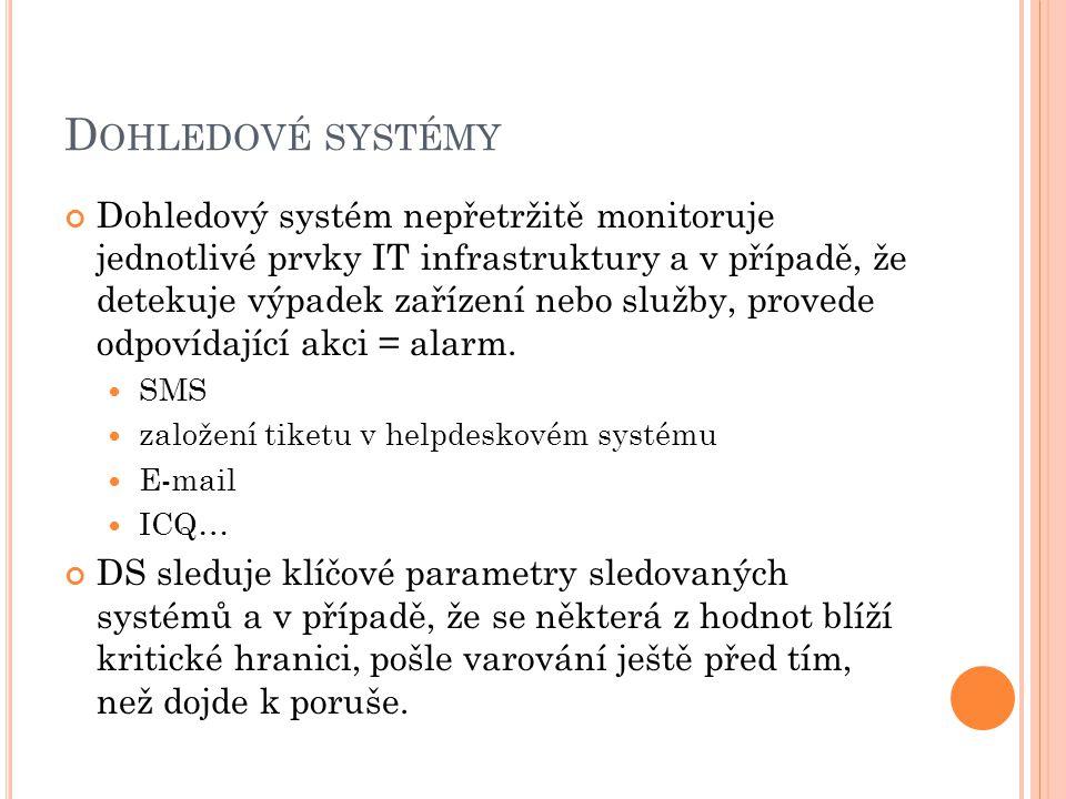 D OHLEDOVÉ SYSTÉMY Dohledový systém nepřetržitě monitoruje jednotlivé prvky IT infrastruktury a v případě, že detekuje výpadek zařízení nebo služby, provede odpovídající akci = alarm.