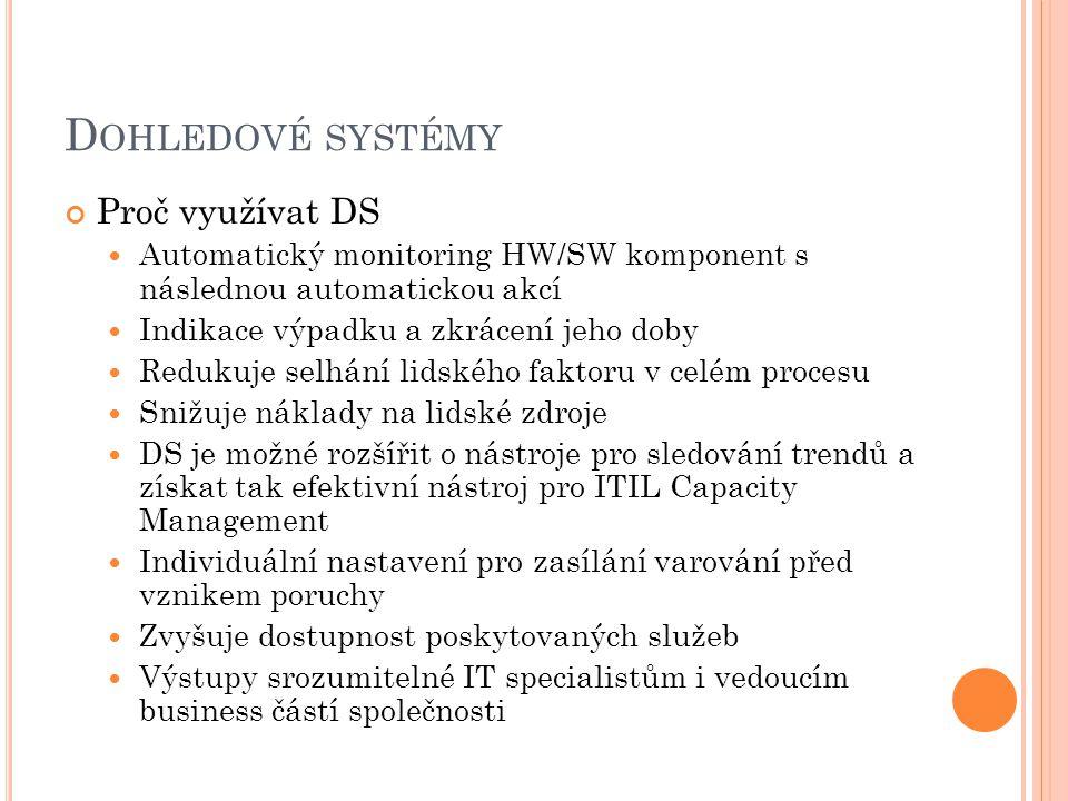 D OHLEDOVÉ SYSTÉMY Proč využívat DS Automatický monitoring HW/SW komponent s následnou automatickou akcí Indikace výpadku a zkrácení jeho doby Redukuje selhání lidského faktoru v celém procesu Snižuje náklady na lidské zdroje DS je možné rozšířit o nástroje pro sledování trendů a získat tak efektivní nástroj pro ITIL Capacity Management Individuální nastavení pro zasílání varování před vznikem poruchy Zvyšuje dostupnost poskytovaných služeb Výstupy srozumitelné IT specialistům i vedoucím business částí společnosti