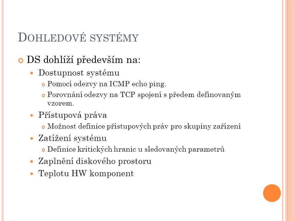 D OHLEDOVÉ SYSTÉMY DS dohlíží především na: Dostupnost systému Pomocí odezvy na ICMP echo ping.