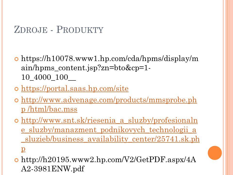 Z DROJE - P RODUKTY https://h10078.www1.hp.com/cda/hpms/display/m ain/hpms_content.jsp?zn=bto&cp=1- 10_4000_100__ https://portal.saas.hp.com/site http://www.advenage.com/products/mmsprobe.ph p /html/bac.mss http://www.snt.sk/riesenia_a_sluzby/profesionaln e_sluzby/manazment_podnikovych_technologii_a _sluzieb/business_availability_center/25741.sk.ph p http://h20195.www2.hp.com/V2/GetPDF.aspx/4A A2-3981ENW.pdf