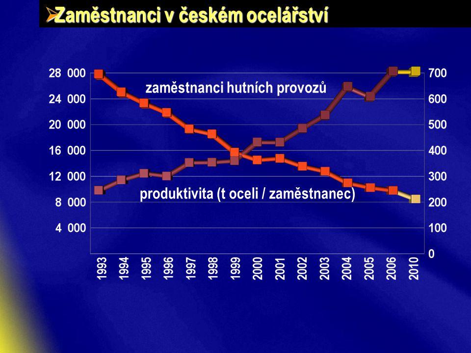  Zaměstnanci v českém ocelářství zaměstnanci hutních provozů produktivita (t oceli / zaměstnanec)