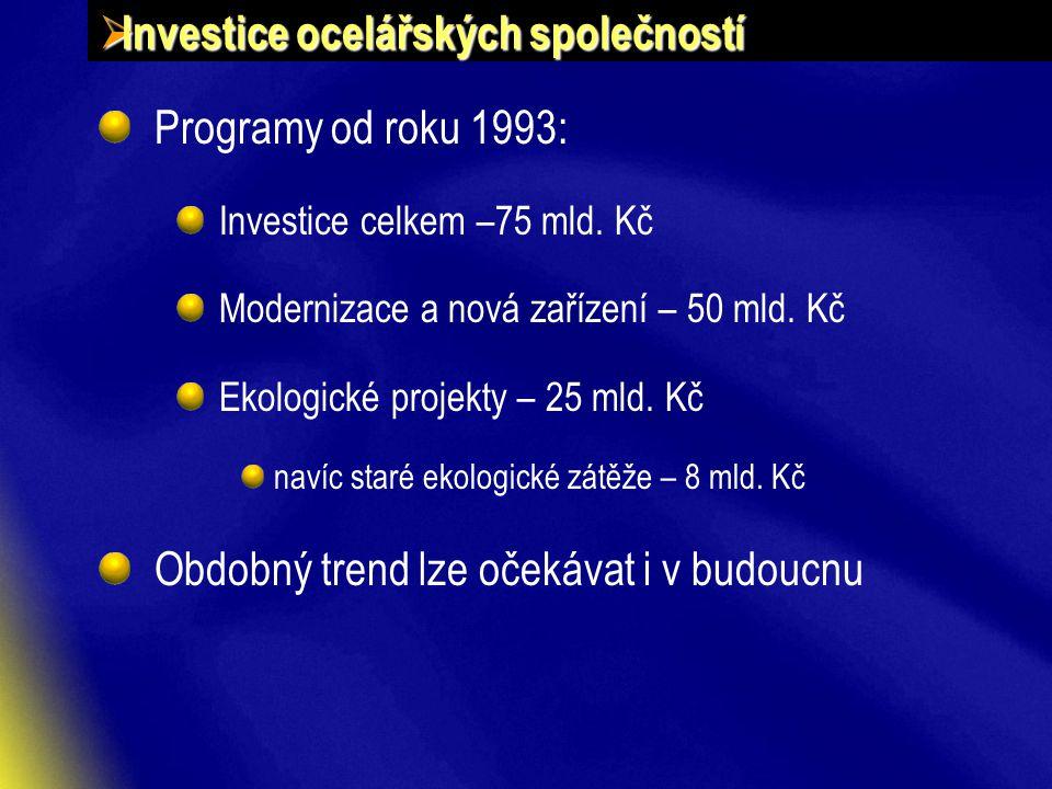 Investice ocelářských společností Programy od roku 1993: Investice celkem –75 mld.