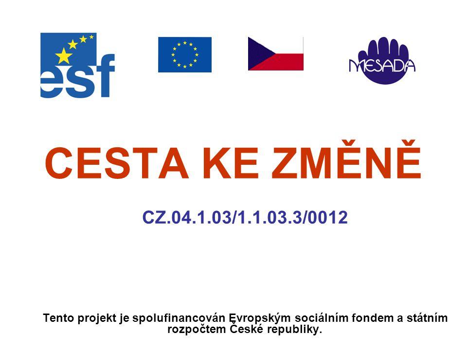 CESTA KE ZMĚNĚ CZ.04.1.03/1.1.03.3/0012 Tento projekt je spolufinancován Evropským sociálním fondem a státním rozpočtem České republiky.