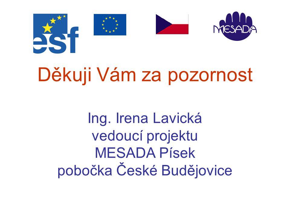 Děkuji Vám za pozornost Ing. Irena Lavická vedoucí projektu MESADA Písek pobočka České Budějovice