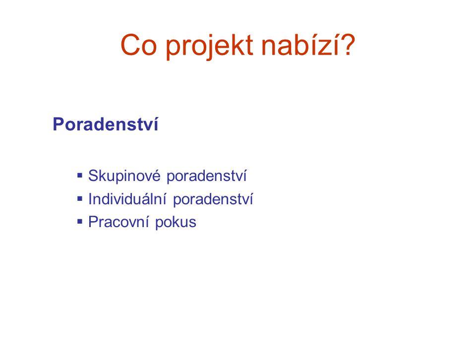 Co projekt nabízí? Poradenství  Skupinové poradenství  Individuální poradenství  Pracovní pokus