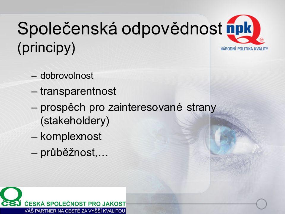 Společenská odpovědnost (principy) –dobrovolnost –transparentnost –prospěch pro zainteresované strany (stakeholdery) –komplexnost –průběžnost,…