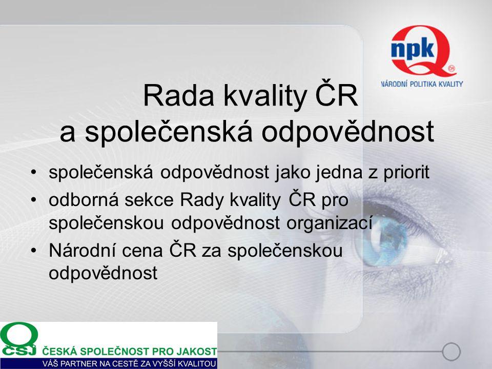 Rada kvality ČR a společenská odpovědnost společenská odpovědnost jako jedna z priorit odborná sekce Rady kvality ČR pro společenskou odpovědnost orga