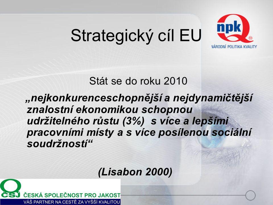 """Strategický cíl EU Stát se do roku 2010 """"nejkonkurenceschopnější a nejdynamičtější znalostní ekonomikou schopnou udržitelného růstu (3%) s více a lepšími pracovními místy a s více posílenou sociální soudržností (Lisabon 2000)"""