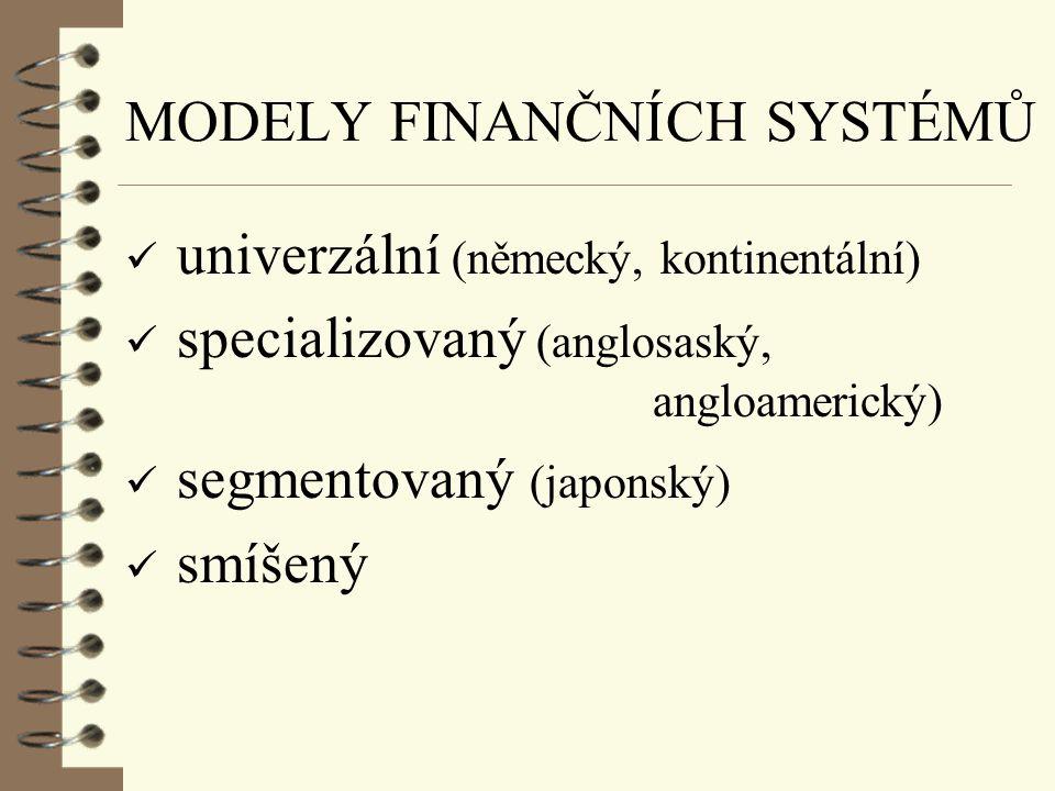 MODELY FINANČNÍCH SYSTÉMŮ M - systém (založený na trhu) B - systém (založený na bankách)