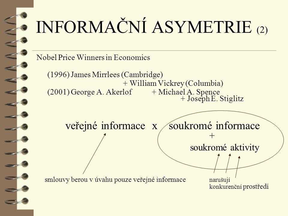 INFORMAČNÍ ASYMETRIE (1) v ekonomické (finanční) teorii často používána celá řada předpokladů (zjednodušení) všechny subjekty na trhu mají dokonalé in