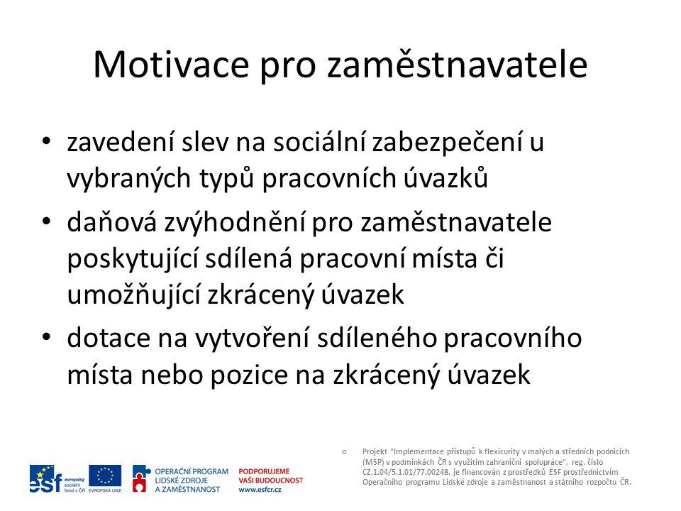 Motivace pro zaměstnavatele zavedení slev na sociální zabezpečení u vybraných typů pracovních úvazků daňová zvýhodnění pro zaměstnavatele poskytující sdílená pracovní místa či umožňující zkrácený úvazek dotace na vytvoření sdíleného pracovního místa nebo pozice na zkrácený úvazek Projekt Implementace přístupů k flexicurity v malých a středních podnicích (MSP) v podmínkách ČR s využitím zahraniční spolupráce , reg.