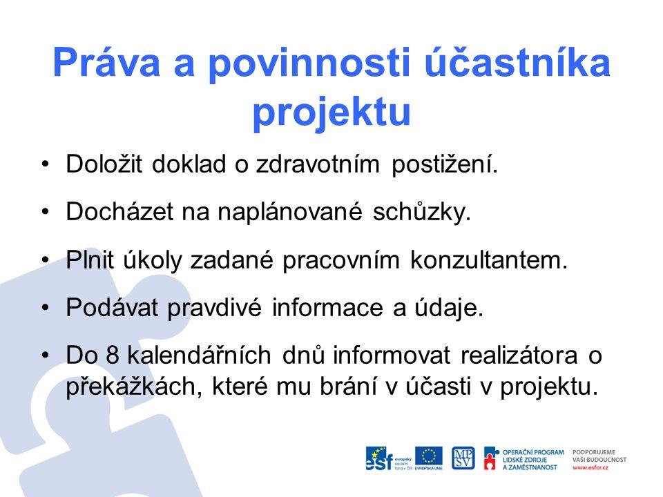 Práva a povinnosti účastníka projektu Doložit doklad o zdravotním postižení. Docházet na naplánované schůzky. Plnit úkoly zadané pracovním konzultante