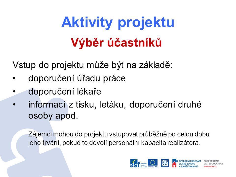 Aktivity projektu Výběr účastníků Vstup do projektu může být na základě: doporučení úřadu práce doporučení lékaře informací z tisku, letáku, doporučení druhé osoby apod.