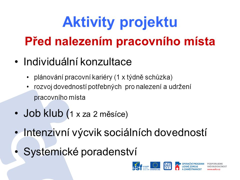 Aktivity projektu Před nalezením pracovního místa Individuální konzultace plánování pracovní kariéry (1 x týdně schůzka) rozvoj dovedností potřebných