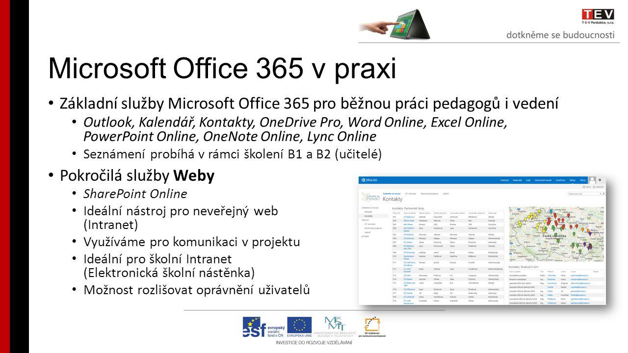 Microsoft Office 365 v praxi Základní služby Microsoft Office 365 pro běžnou práci pedagogů i vedení Outlook, Kalendář, Kontakty, OneDrive Pro, Word Online, Excel Online, PowerPoint Online, OneNote Online, Lync Online Seznámení probíhá v rámci školení B1 a B2 (učitelé) Pokročilá služby Weby SharePoint Online Ideální nástroj pro neveřejný web (Intranet) Využíváme pro komunikaci v projektu Ideální pro školní Intranet (Elektronická školní nástěnka) Možnost rozlišovat oprávnění uživatelů