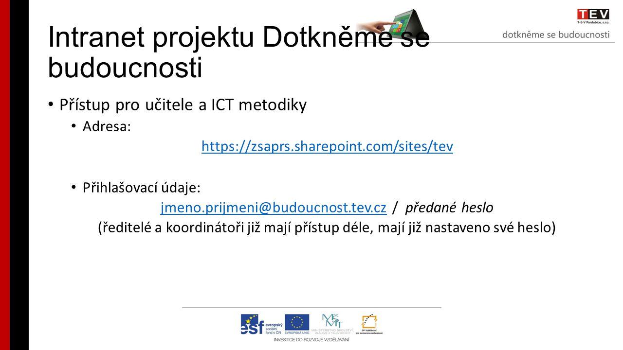 Intranet projektu Dotkněme se budoucnosti Přístup pro učitele a ICT metodiky Adresa: https://zsaprs.sharepoint.com/sites/tev Přihlašovací údaje: jmeno.prijmeni@budoucnost.tev.czjmeno.prijmeni@budoucnost.tev.cz / předané heslo (ředitelé a koordinátoři již mají přístup déle, mají již nastaveno své heslo)