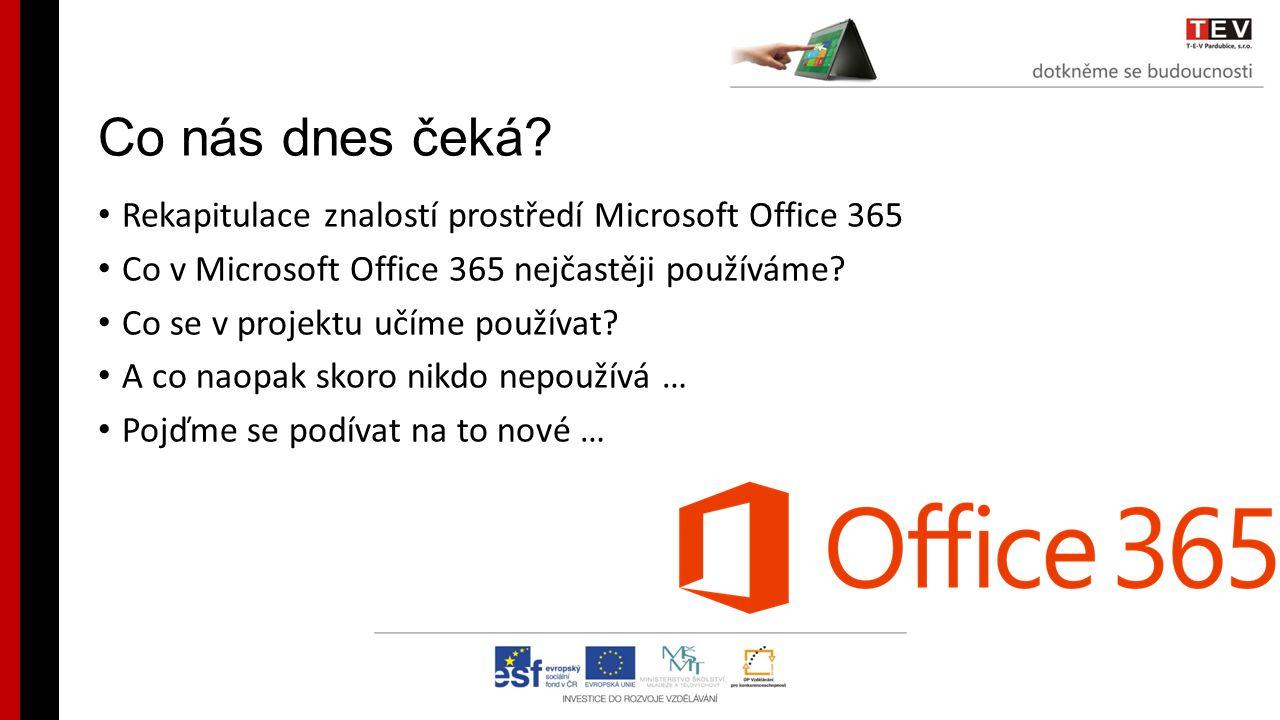 Co nás dnes čeká? Rekapitulace znalostí prostředí Microsoft Office 365 Co v Microsoft Office 365 nejčastěji používáme? Co se v projektu učíme používat