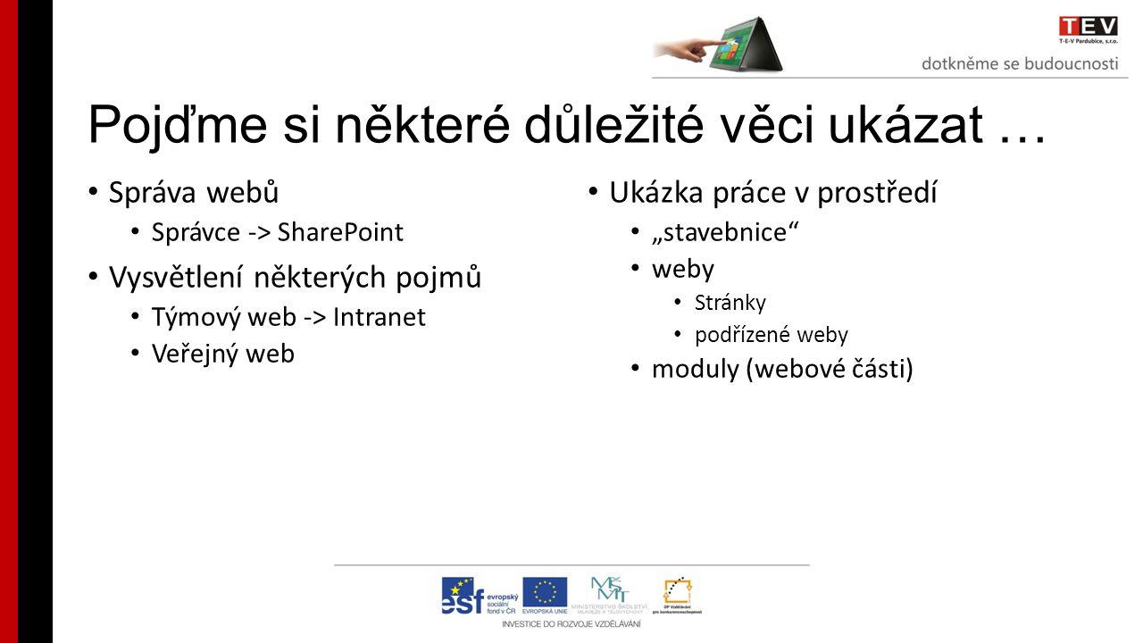 Pojďme si některé důležité věci ukázat … Správa webů Správce -> SharePoint Vysvětlení některých pojmů Týmový web -> Intranet Veřejný web Ukázka práce