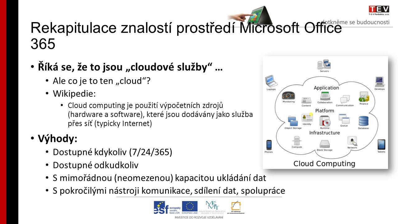 Rekapitulace znalostí prostředí Microsoft Office 365 Říká se, že to je elektronická pošta, tu již používáme … Ano, základem je elektronická komunikace: Exchange OnLine (e-mail, kalendář, kontakty) Teď se učíme používat OneDrive … Skvělé, protože i OneDrive nabízí více OneDrive Pro + webové aplikace Office Word Online, Excel Online, PowerPoint Online, OneNote Online ukládání, prohlížení a úpravy dokumentů snadné sdílení s jinými uživateli