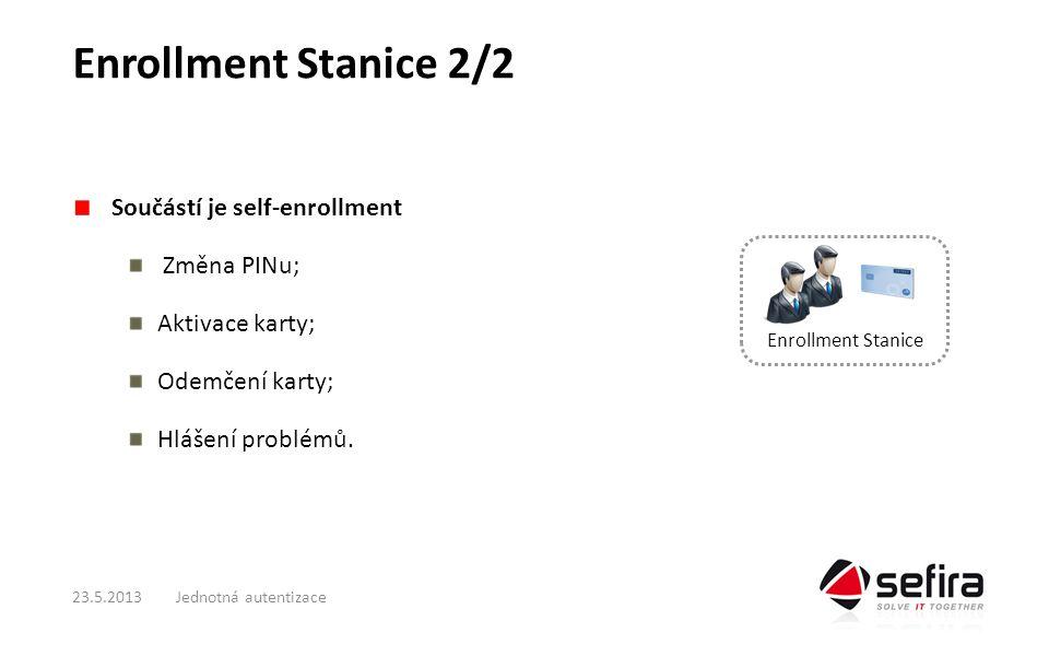 Enrollment Stanice 2/2 Součástí je self-enrollment Změna PINu; Aktivace karty; Odemčení karty; Hlášení problémů.