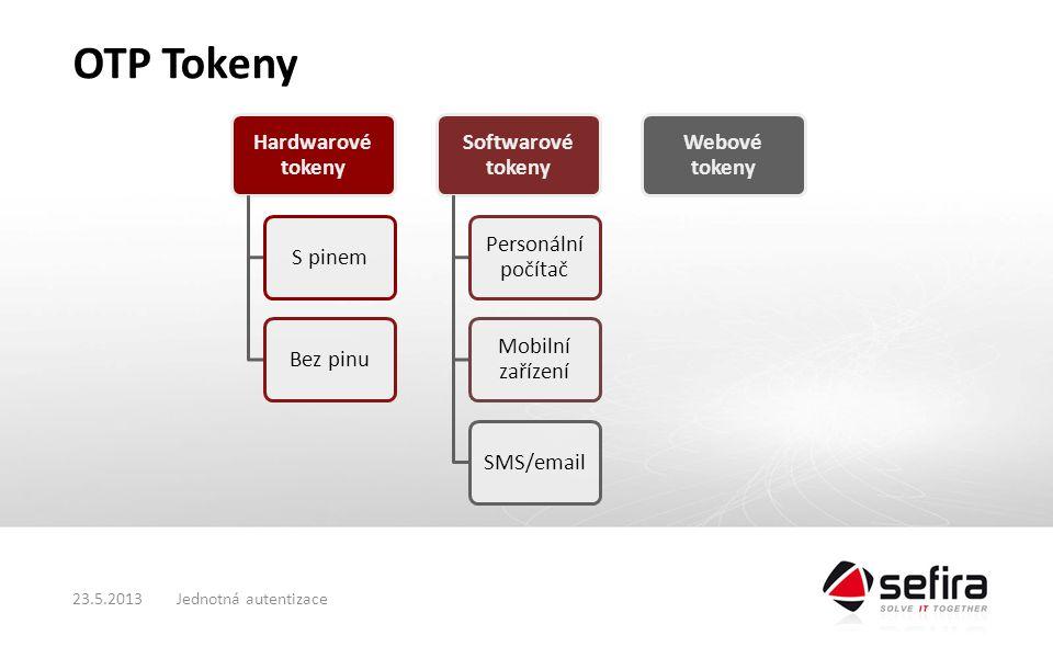 OTP Tokeny Hardwarové tokeny S pinemBez pinu Softwarové tokeny Personální počítač Mobilní zařízení SMS/email Webové tokeny Jednotná autentizace23.5.2013