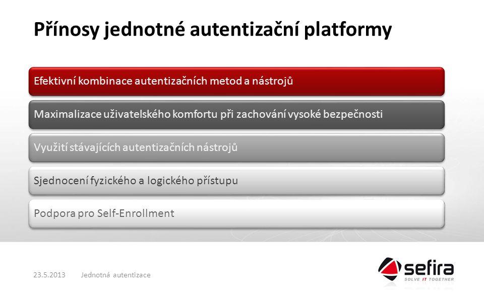 Přínosy jednotné autentizační platformy Efektivní kombinace autentizačních metod a nástrojůMaximalizace uživatelského komfortu při zachování vysoké bezpečnostiVyužití stávajících autentizačních nástrojůSjednocení fyzického a logického přístupuPodpora pro Self-Enrollment Jednotná autentizace23.5.2013