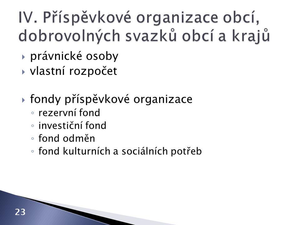  právnické osoby  vlastní rozpočet  fondy příspěvkové organizace ◦ rezervní fond ◦ investiční fond ◦ fond odměn ◦ fond kulturních a sociálních potř