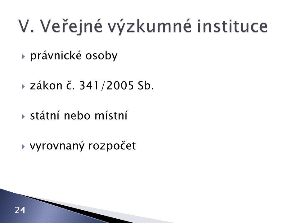  právnické osoby  zákon č. 341/2005 Sb.  státní nebo místní  vyrovnaný rozpočet 24