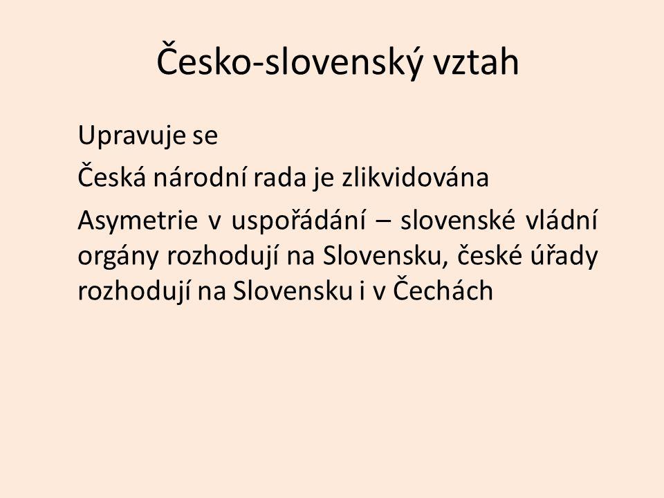 Česko-slovenský vztah Upravuje se Česká národní rada je zlikvidována Asymetrie v uspořádání – slovenské vládní orgány rozhodují na Slovensku, české úřady rozhodují na Slovensku i v Čechách