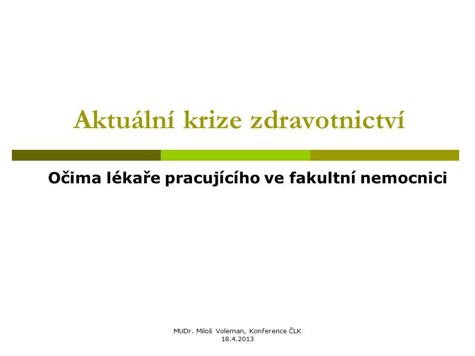 MUDr. Miloš Voleman, Konference ČLK 18.4.2013 Aktuální krize zdravotnictví Očima lékaře pracujícího ve fakultní nemocnici