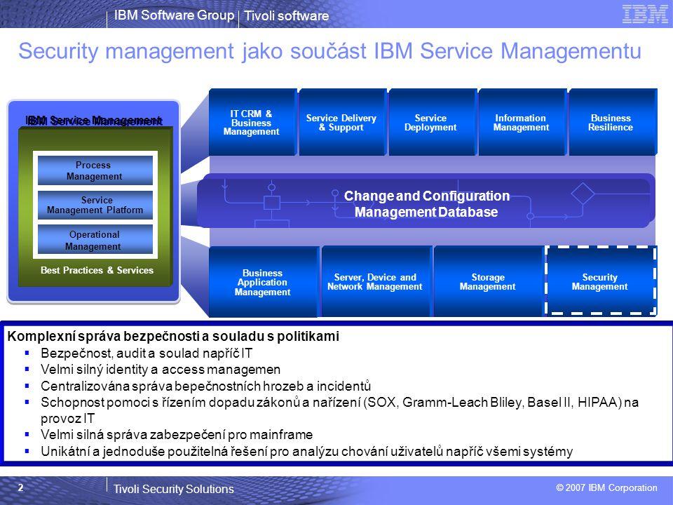 Tivoli software Tivoli Security Solutions © 2007 IBM Corporation IBM Software Group 3  Nárůst požadavků na shodu s předpisy –Stovky různých iniciativ –V mnoha odvětvích narůstají požadavky na shodu s bezpečnostními nařízeními –Vylepšený monitoring a dohled vyžaduje řízení rizik pro minimalizaci obchodních ztrát  Větší složitost –Neslučitelné technologie a části infrastruktury brání efektivnímu zavádění shody –Žádané je mapování shody infrastruktury na business služby  Zvýšení nákladů –Nedostatek predikce událostí a visualizace napříč celou infrastrukturou –Selhání při snaze docílit souladu nebo bezpečnostní prevence Klíčové faktory security managementu