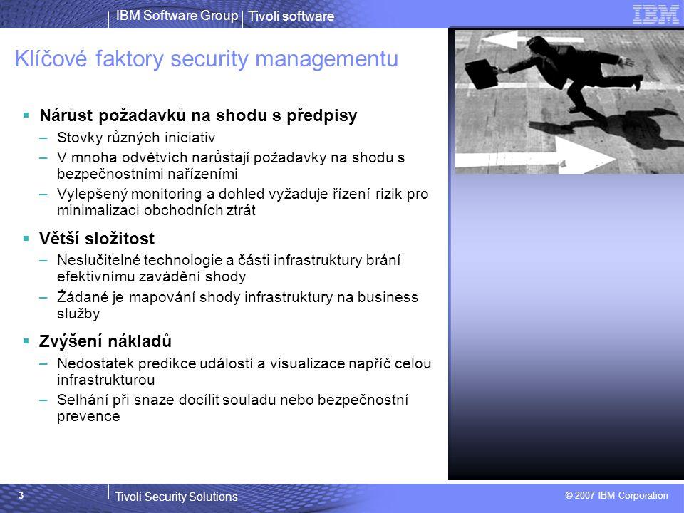 """Tivoli software Tivoli Security Solutions © 2007 IBM Corporation IBM Software Group 4 Security management - fakta  až 70 % všech útoků (úspěšných i neúspěšných) přichází """"zevnitř , tedy od vlastních zaměstnanců, ať těch současných, nebo bývalých."""