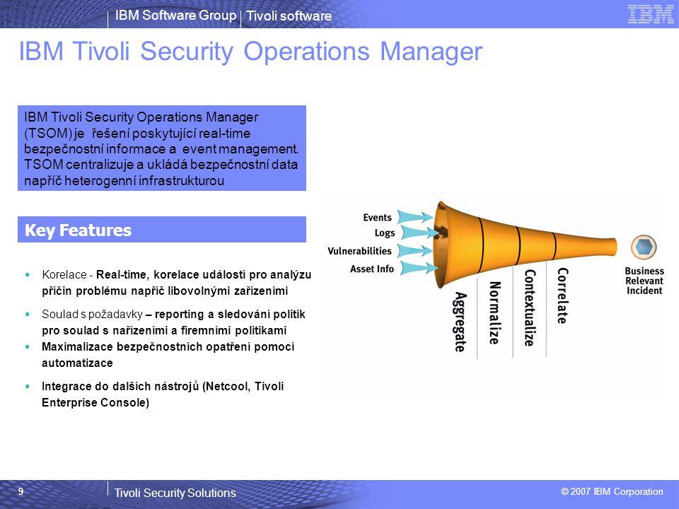 Tivoli software Tivoli Security Solutions © 2007 IBM Corporation IBM Software Group 10 Konsolidovaný pohled přes TSOM Dashboard