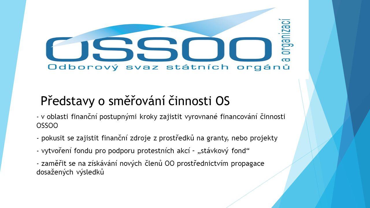 """Představy o směřování činnosti OS - v oblasti finanční postupnými kroky zajistit vyrovnané financování činnosti OSSOO - pokusit se zajistit finanční zdroje z prostředků na granty, nebo projekty - vytvoření fondu pro podporu protestních akcí – """"stávkový fond - zaměřit se na získávání nových členů OO prostřednictvím propagace dosažených výsledků"""