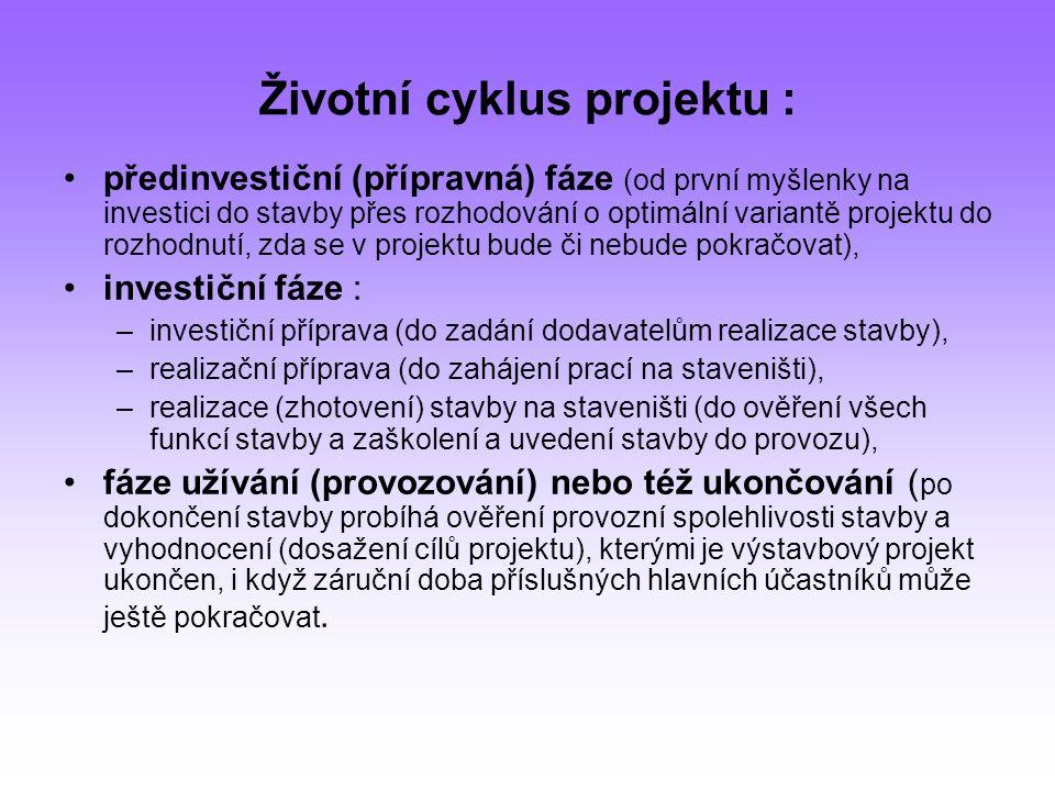 Životní cyklus projektu : předinvestiční (přípravná) fáze (od první myšlenky na investici do stavby přes rozhodování o optimální variantě projektu do