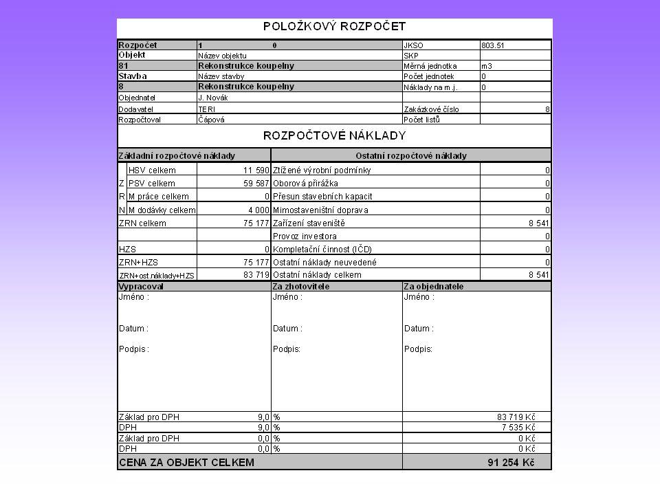 Sborník potřeb a nákladů (SPON)