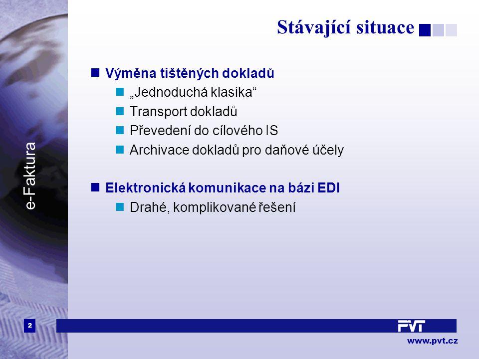 """2 www.pvt.cz e-Faktura Stávající situace Výměna tištěných dokladů """"Jednoduchá klasika Transport dokladů Převedení do cílového IS Archivace dokladů pro daňové účely Elektronická komunikace na bázi EDI Drahé, komplikované řešení"""