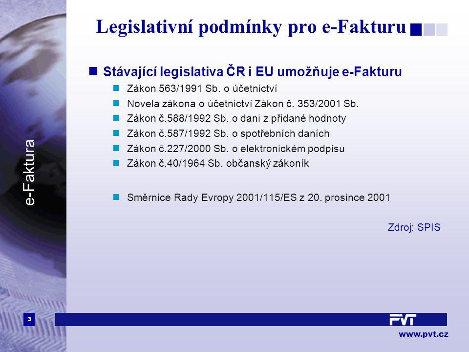 3 www.pvt.cz e-Faktura Legislativní podmínky pro e-Fakturu Stávající legislativa ČR i EU umožňuje e-Fakturu Zákon 563/1991 Sb. o účetnictví Novela zák