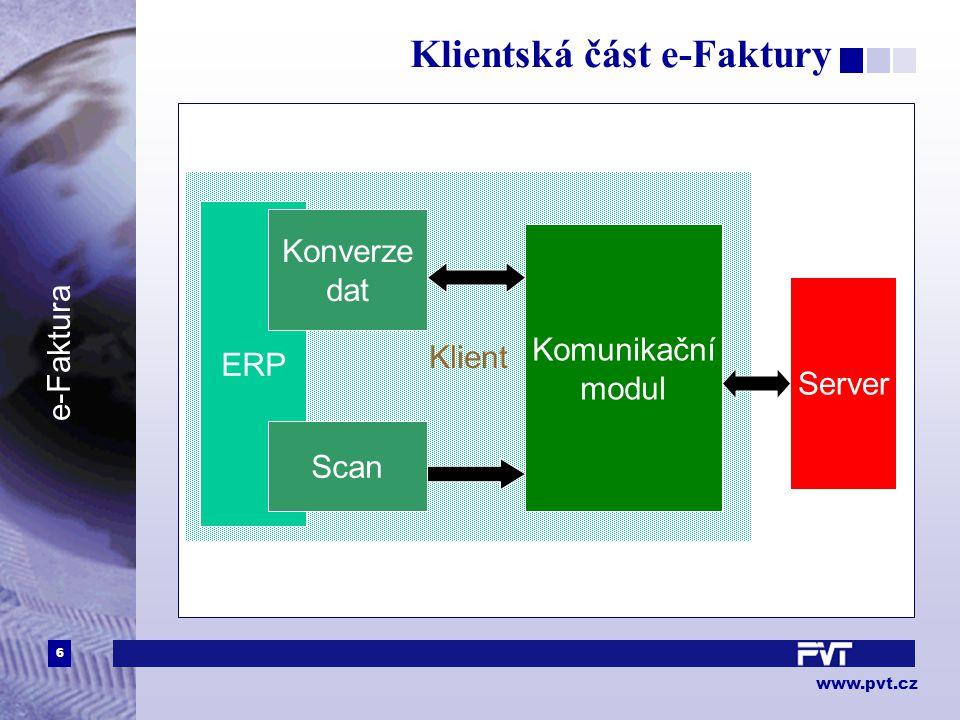 6 www.pvt.cz e-Faktura Klientská část e-Faktury Klient ERP Konverze dat Scan Komunikační modul Server