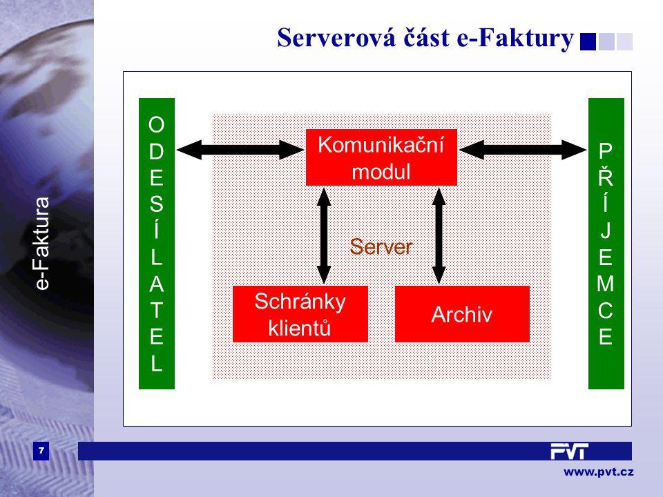 7 www.pvt.cz e-Faktura Serverová část e-Faktury ODESÍLATELODESÍLATEL Server PŘÍJEMCEPŘÍJEMCE Schránky klientů Komunikační modul Archiv