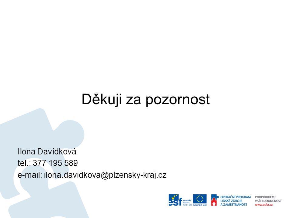 Děkuji za pozornost Ilona Davídková tel.: 377 195 589 e-mail: ilona.davidkova@plzensky-kraj.cz
