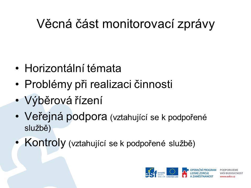Věcná část monitorovací zprávy Horizontální témata Problémy při realizaci činnosti Výběrová řízení Veřejná podpora (vztahující se k podpořené službě) Kontroly (vztahující se k podpořené službě)