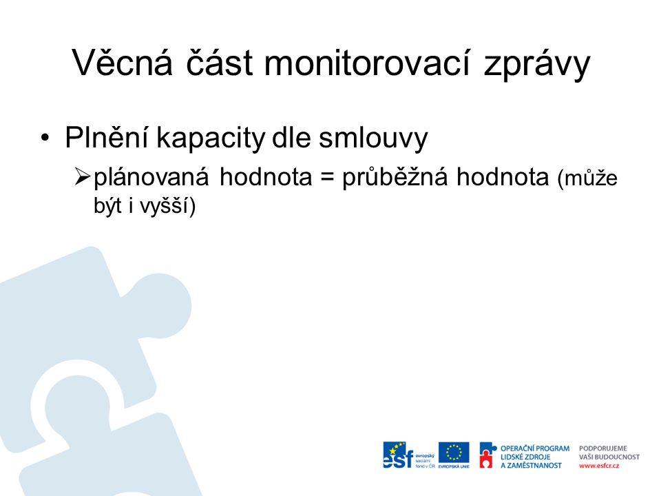 Věcná část monitorovací zprávy Plnění kapacity dle smlouvy  plánovaná hodnota = průběžná hodnota (může být i vyšší)