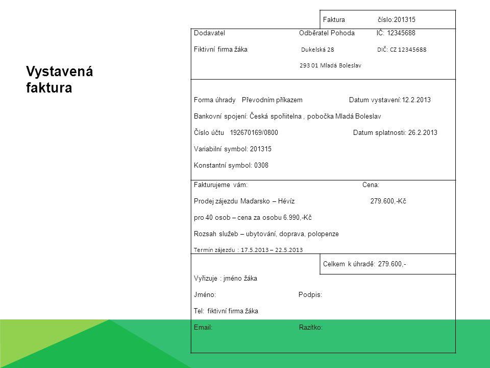Faktura číslo:201315 Dodavatel Odběratel Pohoda IČ: 12345688 Fiktivní firma žáka Dukelská 28 DIČ: CZ 12345688 293 01 Mladá Boleslav Forma úhrady Převo