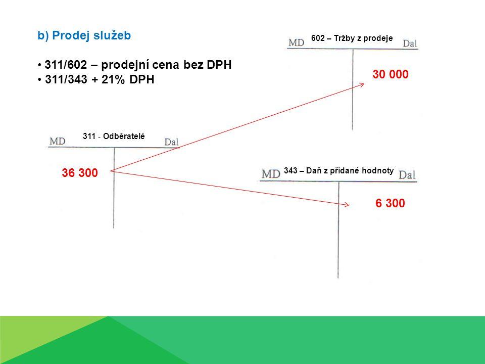 b) Prodej služeb 311/602 – prodejní cena bez DPH 311/343 + 21% DPH 311 - Odběratelé 602 – Tržby z prodeje 343 – Daň z přidané hodnoty 36 300 30 000 6