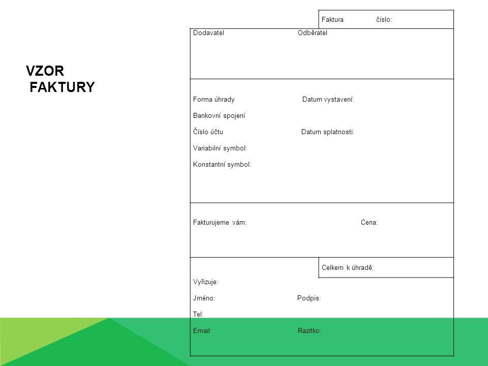 Procvičení učiva Vystavte fakturu a následně zaúčtujte pro zákazníka: Název firmy: Pohoda Sídlo firmy: Mladá Boleslav, Dukelská 28 IČO: 12345688 DIČ: CZ 12345688 Bankovní Spojení: Česká spořitelna, a.s., pobočka Mladá Boleslav číslo účtu: 192670169/0800 Předmět: prodej zahraničního zájezdu Maďarsko- Hévíz v termínu 17.5.